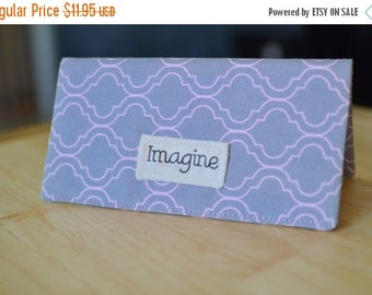 SALE Pink and Gray Inspirational Checkbook Cover,Fabric Checkbook Cover, Pink and Gray Checkbook Cover, Check Book Cover