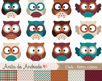 Owls Digital Clipart - Commercial use -  Woodland animals vector, vintage color, digital supplies - C006