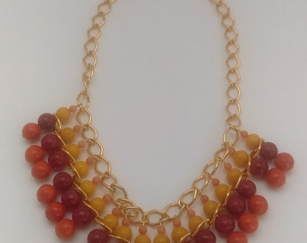 Assorted bead necklace with chain