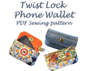 Phone Wallet Pattern. Twist lock PDF purse pattern. Purse sewing pattern. Coin purse