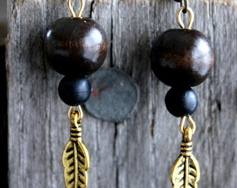 Black & Brown Bead and Feather Earrings