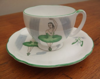 Gorgeous Royal Stafford 'Ballet' pattern bone china coffee cup and saucer - Green