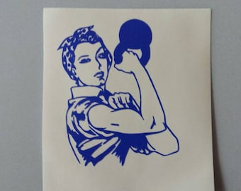 We CAN Do IT Kettlebell Fitness Rosie the Riveter .. Vinyl Car Window Decal or Laptop Sticker.. Free Shipping . Strong Women WWII Muscle