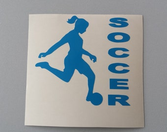 FEMALE SOCCER PLAYER Vinyl Decal .. Free Shipping ..  Window Car Laptop Wine Glass Beer Mug Coffee Cup Sticker