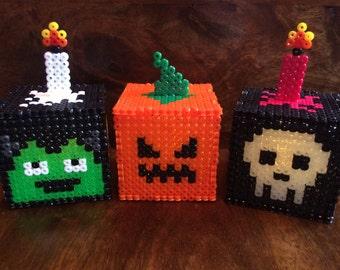 3D Halloween Light up Pixel Art Bead Cubes - Pumpkin, Glow in the dark Skulls and Frankenstein Monster
