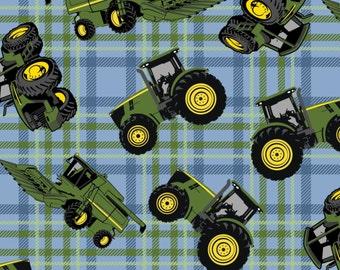 John Deere Blue Green Plaid Cotton from Springs Creative, farm, tractor, big wheels, farmer