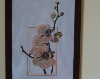 Cross stitch Embroidery hand made wall decoration Interior design Home decor textile Framed