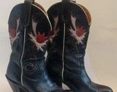 Vintage 1970s Miss Capezio Black Leather Cowboy Boots Women's US 8/UK 6/EU 39 Medium Width