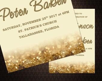 Gold Sparkles Wedding Invitation, Cream, Text-Editable, Printable Instant Download, code-14