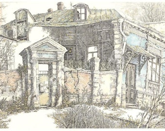 Original Hand Water-Colored Etching by Valery Vlasov. Old House near by Trolley Car Stop. 36 cm x 65 cm