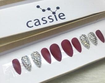 Set of red wine stiletto press on nails false nails glue on nails 3d sparkle rhinestone