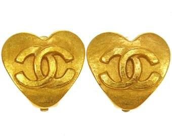 Vintage Chanel Logo Gold Heart Earrings 1993