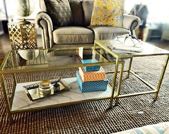 Hollywood Glamour Gold Glass Coffee Tables with Faux Marble Shelf