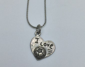 I Love Soccer Silver 925 Vintage Sports Charm, Item 14- Free Shipping within USA