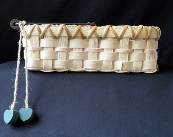 SALE -- Handled Basket with Heart Pendants