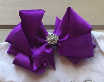 Purple Large Satin Bow Clip with Rhinestones
