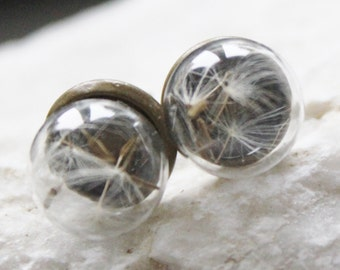 Mini puff flower Stud Earrings, earrings dandelion, dandelion earings, wish, talisman, good luck