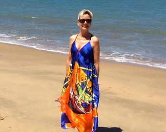 "Silk Dress Boho Style Gown - Made in Australia with artwork of V. van Gogh ""Boats"""