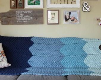 Handmade Chunky Crochet Ombre Chevron Blanket 5x6'