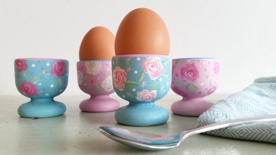 Original hand painted 'Vintage rose' wooden egg cups - made to order in any colour scheme set of 2 or 4 - Easter gift