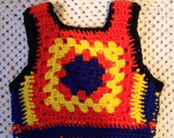 Kids 70s Crochet Vest 4-6 years