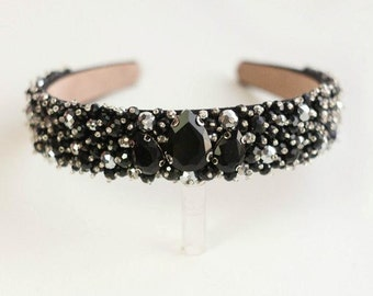 Black  beaded headband Baroque headband Beaded crown Beaded headband Black headband
