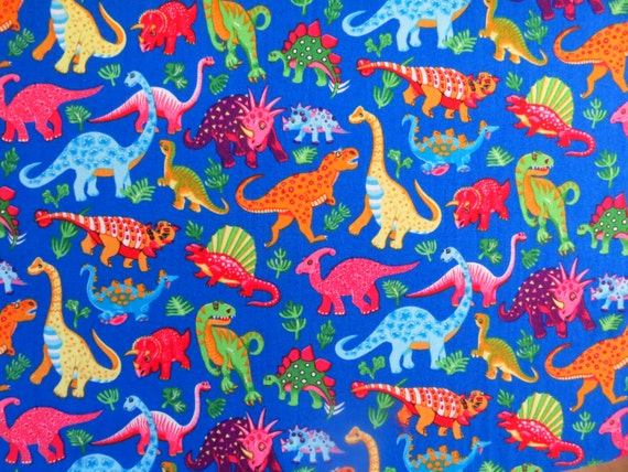 Dinosaur fabric fat quarter quilting fabric childrens for Childrens quilt fabric