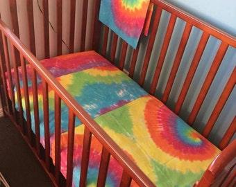 Tie dye rainbow cot set