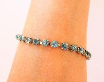 "Vintage Mid Century Delicate Rhinestone Bracelet Light Blue Silver Tone 7"" Bridal Wedding Bling"