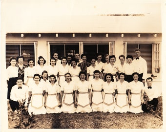 50s Restaurant Group Photo, Vintage Restaurant Photo, 50s Group Photo, 50s Black & White Photo, Paper Ephemera, Mid Century Photo