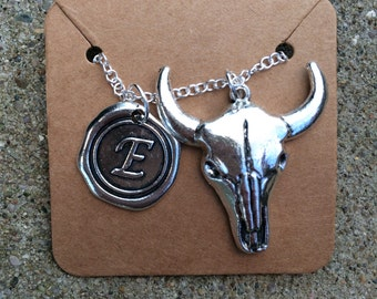 Cattle Head Initial letter necklace