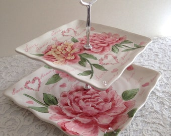 Pink & White Floral Square 2 Tier Serving Tray