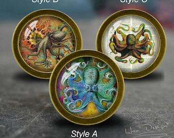 Octopus furniture etsy for Nautical bureau knobs