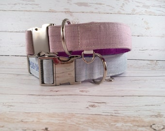 MADE TO ORDER-Blue Waverly Dog Collar, Choose width- Buckle or Martingale- add Embroidery and/or Leash