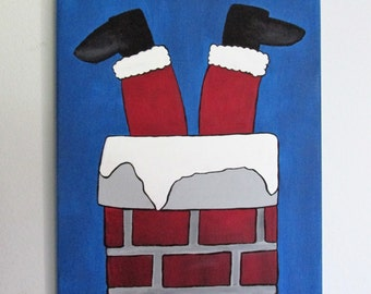 "Clumsy Santa - 11"" x 14"" Acrylic on Stretched Canvas"