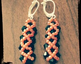 Black & Peach hand woven beaded earrings