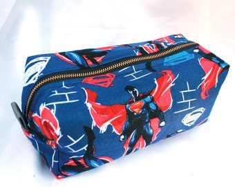Toiletry Bag - Superman- Dawn of Justice - Man of Steel- School Supplies - Pencil and Electronics case- Valentine's Day Gift