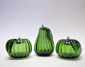 Green Hand Blown Glass Apples and Pear Fruit