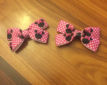 Pink Minnie Mouse Bow/Clip