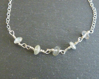 Hand wired labradorite on a silver chain