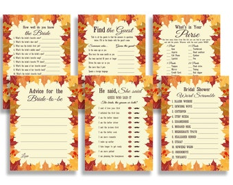 Autumn Fall Bridal Shower Games Package Leaves Set Funny Bachelorette Pack