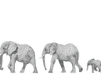 Elephants on Parade - card or mounted print by Racheal Bamford / triangles / geometric
