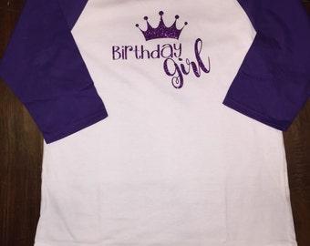 Birthday Girl Raglan Sleeve T-Shirt with Name on Back
