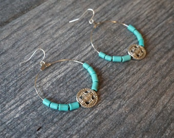 Turquoise and Silver Accent Hoop Earrings