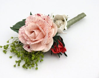 Groom Boutonniere - Corsage - Pink Coral Ivory Flowers and Green Broom Bloom