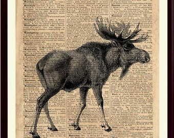 Moose Print, Moose Decor, Moose Nursery, Kids Playroom Decor, Moose Artwork, Moose Wall Decor, Moose Poster, Animals Art Prints