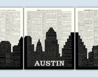 Austin Skyline Triptych, Austin Art Print, Austin Decor, Austin Wall Art, Austin Poster, Austin Gift, Set of 3 Prints