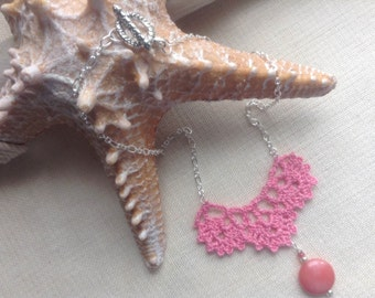Pink Crochet Pendant Necklace