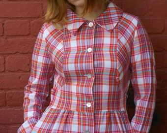 fab vintage  60s 70s french checked  pompadour maxi dress