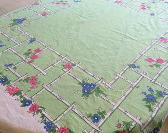 Vintage 1950's Tablecloth - Mint Green w/trellis and floral print